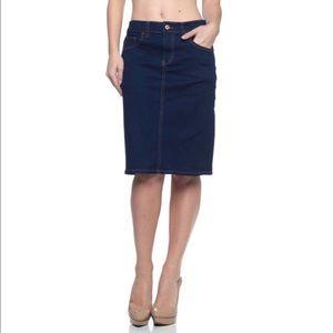 Dark indigo denim skirt